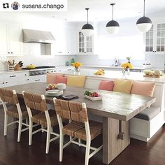 32 Popular Kitchen Island With Seating Ideas - After many years with the same kitchen layout, you probably want to make some changes for a fresher look. There are many ways to do this and kitchen i. Kitchen Layout, New Kitchen, Kitchen Renovation, Kitchen Remodel, Kitchen Island Design, Kitchen Seating, Kitchen Island With Seating, Kitchen Interior, Beautiful Kitchens