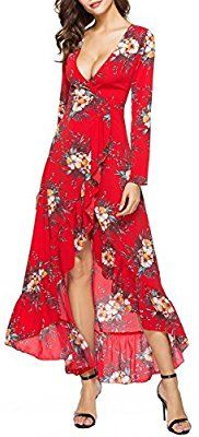 Amazon.com: Luxspire Women's V-Neck Long Sleeve Irregular Falbala Printing Long Dress, Red, L: Sports & Outdoors
