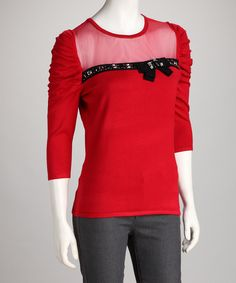 Red Rhinestone Bow Sweater by Colour Works #zulily #zulilyfinds