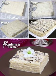 White Cake Recipe, How To - Womanly Recipes - Delicious, Practical and Delicious Food Recipes Site - Cake Recipes Best Cake Recipes, Dessert Recipes, Mousse Au Chocolat Torte, Pasta Cake, Salty Foods, Cheesecake Cake, Turkish Recipes, Mets, Cookie Desserts