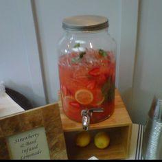 Strawberry basil infused lemonade.. Wedding drink!