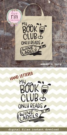 Book club reads wine labels, fun funny quirky wine lover gift idea digital cut files, SVG, DXF, studio3 for cricut, silhouette cameo, decals by LoveRiaCharlotte on Etsy