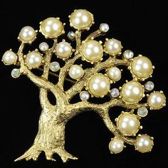 After Pennino (1960s Copy) Gold Aurora Borealis and Pearls Apple Tree Pin