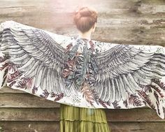 White Cotton Women scarf Hand painted Wings and by Shovava on Etsy