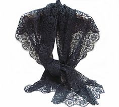 Vintage Black Lace Stole Shawl Wrap 1980s by CoconutRoad on Etsy, $22.50