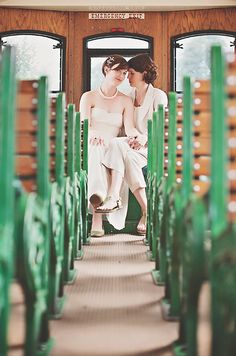 I love this wedding!  (A sweet and vintage wedding at Massachusetts' Museum of Industry | Offbeat Bride)