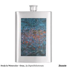 Study In Watercolor - Orange Flask