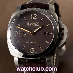 Panerai Luminor Marina 44mm Titanium - '1950 3 Days' REF: PAM 00351 | Year Jul 2012 - This 44mm brushed titanium PAM 351 sports a stunning tobacco brown luminous sandwich dial...Powered by Panerai's in-house automatic movement with an impressive 3 day power reserve and fitted to a brand new brown alligator Panerai strap with brushed titanium pin buckle. Water resistant to 300m. - for sale at Watch Club, 28 Old Bond Street, Mayfair, London