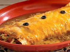 Shredded Beef Wet Burritos Hacienda-Style!    I am going to use ground beef or chicken in these!