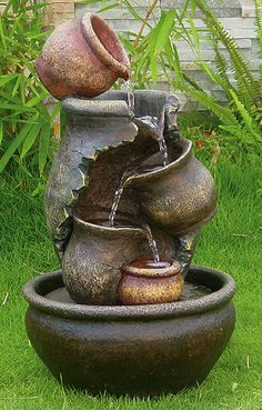 Cracked pots oil jat cascade Solar Water Fountain!!! Front yard
