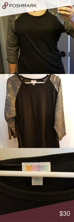 Lularoe 2xl elegance Randy This comfy baseball tee is from the 2016 elegance collection.  Sleeves are gray with metallic pewter accent. LuLaRoe Tops Tees - Long Sleeve