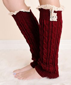 Another great find on #zulily! Wine Red Cable-Knit Lace-Trim Long Boot Cuffs #zulilyfinds