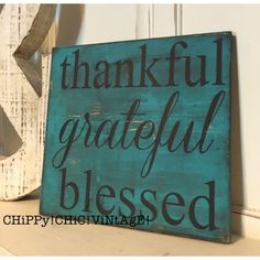 Wooden Sign Thankful Grateful Blessed Dark Turquoise Living