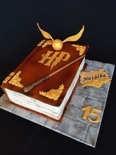 Check it out Potter Heads! Harry Potter book cake by Layla A Harry Potter Book Cake, Harry Potter Desserts, Bolo Harry Potter, Gateau Harry Potter, Harry Potter Birthday Cake, Harry Potter Food, Harry Potter Wedding, Harry Potter Theme, Harry Potter Cake Decorations