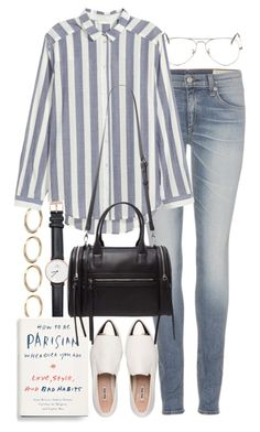 """Untitled #8785"" by nikka-phillips ❤ liked on Polyvore featuring Forever 21, Ray-Ban, rag & bone, Daniel Wellington and Miu Miu"