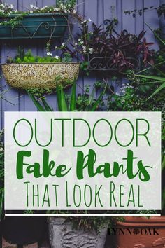 I don't have a green thumb and all my plants die or look terrible the whole summer. So my solution is to find some outdoor fake plants that look real! That way they will look awesome all summer long.Read more → Fake Plants Decor, Hanging Plants, Plant Decor, Hanging Baskets, Outdoor Flowers, Outdoor Plants, Outdoor Gardens, Plants Indoor, Outdoor Landscaping