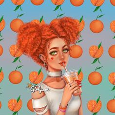 Imagen de girly_m, orange, and art Girly M Instagram, Sarra Art, Girly Drawings, Awesome Drawings, Realistic Drawings, Beautiful Drawings, Cute Girl Drawing, Drawing Art, Drawing Ideas