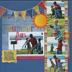#papercraft #scrapbook #layout  Summer Fun - Scrapbook.com  Great colors in the layout #scrapbooklayouts