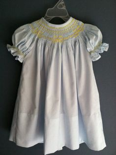 Blue bishop with yellow smocking for sweet Lottie.  MiMi's Originals