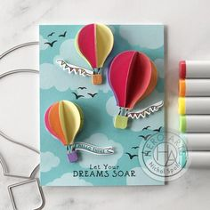 Nichol Spohr shows us how to let your dreams soar with stamps, dies, and inks from Hero Arts! Father Birthday Cards, Happy Birthday Cards, Scrapbooking, Scrapbook Cards, Hot Air Balloon Paper, Hot Air Balloons, Eid Cards, Balloon Crafts, Up Book
