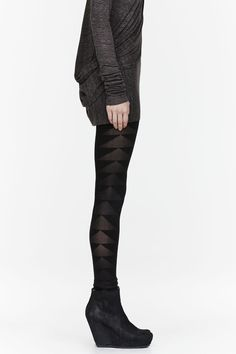 RICK OWENS LILIES Black semi-sheer Patterned leggings