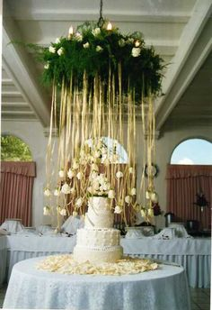 interesting...hang flowers from streamers, with candle lit mason jars hanging as well. BEAUTIFUL!