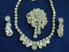 Vintage Signed Eisenberg Clear Rhinestone Necklace Brooch Earrings Set Fabulous #Eisenberg