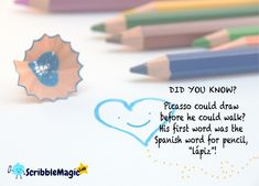 At Scribblemagiclab, we offer personalized gifts where you can turn childrens artwork into gift that we would have first magnified.Buy a gift that shows your childs artwork on it. Childrens Artwork, Spanish Words, One Word, Drawing Skills, Picasso, Pencil Drawings, Art For Kids, Personalized Gifts, Art For Toddlers