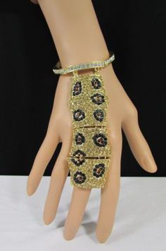 Gold Silver Metal Chains Hand Chain Bracelet Slave Ring Bling Jewelry Big Leopard Black Rhinestones New Women Fashion Accessories
