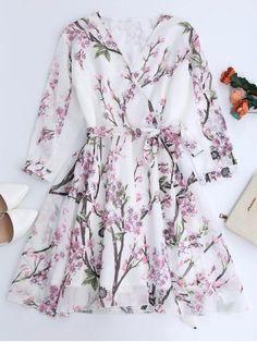 Floral Surplice Chiffon Flowy Dress - WHITE spring style