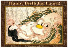 "Wonderful Personalised Vintage Japanese Erotic ""Shunga"" Art Greetings Card"