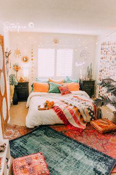 Boho room room inspiration in 2019 room decor, dorm room, bedroom decor. Dream Rooms, Dream Bedroom, Bedroom Bed, Pretty Bedroom, Bedroom Inspo, Jungle Bedroom, Fall Bedroom, Cozy Bedroom, Teen Bedroom