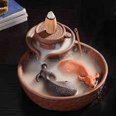 2 Cattles Mill Cone Incense Burner Purple Clay Smoke BackFlow Incense Sticks Holder Lucky Animal Censer for Tower Incense Type: Incense BurnerApplication Area Incense Cones, Incense Sticks, Decoration Bedroom, Aromatherapy Candles, Incense Holder, Clay Crafts, Home Accessories, Smoke, The Originals