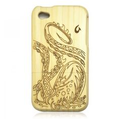 Generic White Bamboo Case for iPhone 4 / 4S - Big Octopus Color Wood by ZLYC, http://www.amazon.com/dp/B00D30RZ20/ref=cm_sw_r_pi_dp_xLE7rb0CTT9R9