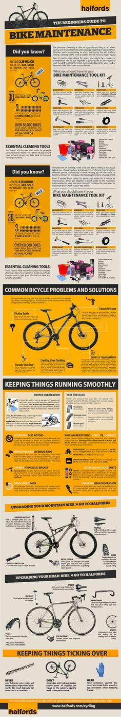 Looking to improve your bike maintenance skills? Check out our bike maintenance infographic below to learn the skills you need to make sure your bike is in tip-top condition - no matter what you put it through! Cycling Tips, Road Cycling, Road Bikes, Dirt Bikes, Triathlon Training, Bicycle Maintenance, Bike Accessories, Bike Trails, Bike Life