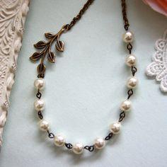 Wedding Jewelry Bridesmaid Necklace An Oxidized Brass by Marolsha, $27.50