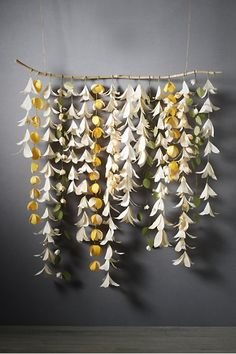Hanging paper flowers.