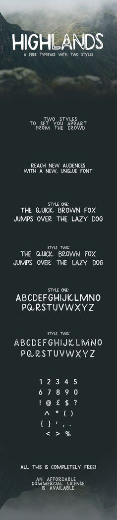 Highlands - Free Font on Behance | Free Font Collection | Pinterest