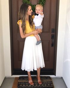Midi Skirt Outfit Casual, Yellow Skirt Outfits, White Summer Outfits, Spring Outfits, Outfit Summer, Dress Summer, White Midi Skirt, White Skirts, Church Outfits