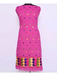 Georgette Phulkari Kurti  - Handicraft Phulkari Kurti is made on Georgette Metrial    - This  is Hand emrbroidered with thread of Pat, which makes it more beautiful.    - Product Cloth is Georgette Length is 2.5 Meter. Can be made length upto 42. & Size 50. This is Unstitched Kurti    - You can also get this kurti sticthed with only Rs.100/- extra charges    - Dry Clean/Soft Wash  Shop Now : https://www.punnjab.com/rani-georgette-phulkari-kurti-jkgp1210