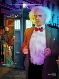 This is the best Doctor Who and Back to the Future mashup illustration i have seen so far which is featuring Doc Brown as The Doctor and Marty as his companion. Via: /Film Related Dr Who, Marty Mcfly, Matt Smith, Sherlock, Science Fiction, Doc Brown, Bttf, John Barrowman, Hemlock Grove