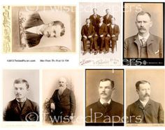 Photos and Cabinet Cards of Men from the 1880s through early 1900s, Digital Collage Sheet, 13-728