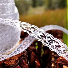 """Pure White Tiny Galloon Lace Trim ⅝"""" wide 