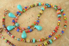Boho Necklace, Turquoise Jewelry, Southwest Jewelry, Bohemian Jewelry, Colorful Necklace, Tribal