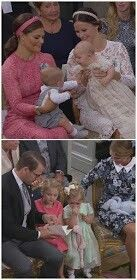 Top picture: CP Victoria of Sweden holding Prince Oscar and Princess Sofia of Sweden holding Prince Alexander, at Prince Alexander's christening. Stockholm. September 9 2016. Bottom picture: Prince Daniel, Princess Estelle, Princess Leonore, Princess Madeleine of Sweden at the christening of Prince Alexander. Stockholm. September 9 2016
