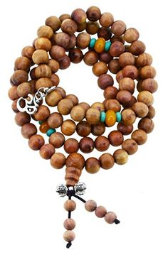 108 Tibetan Cedar Yoga Meditation Prayer Beads Mala Necklace Wrap Bracelet (Om)