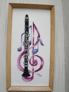 Clarinet and Treble Clef Cross Stitch by myctchr