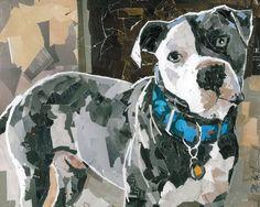 "Dog Collage Portrait- Rocco Print 27 x 22 (printed area 23"" x 18"") Maritza Hernandez"