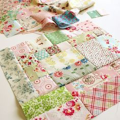 using up the scraps block......sweet made from pretty little bits of soft prints