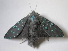 Fabric sculpture Small dark gray moth textile art by YumiOkita Sculpture Textile, Textile Fiber Art, Soft Sculpture, Insect Art, Butterfly Crafts, Butterfly Embroidery, Bleu Turquoise, Bugs And Insects, Fabric Jewelry